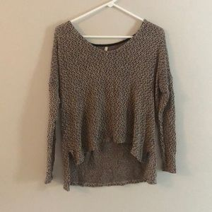 Navy and tan hi-low light weight sweater top